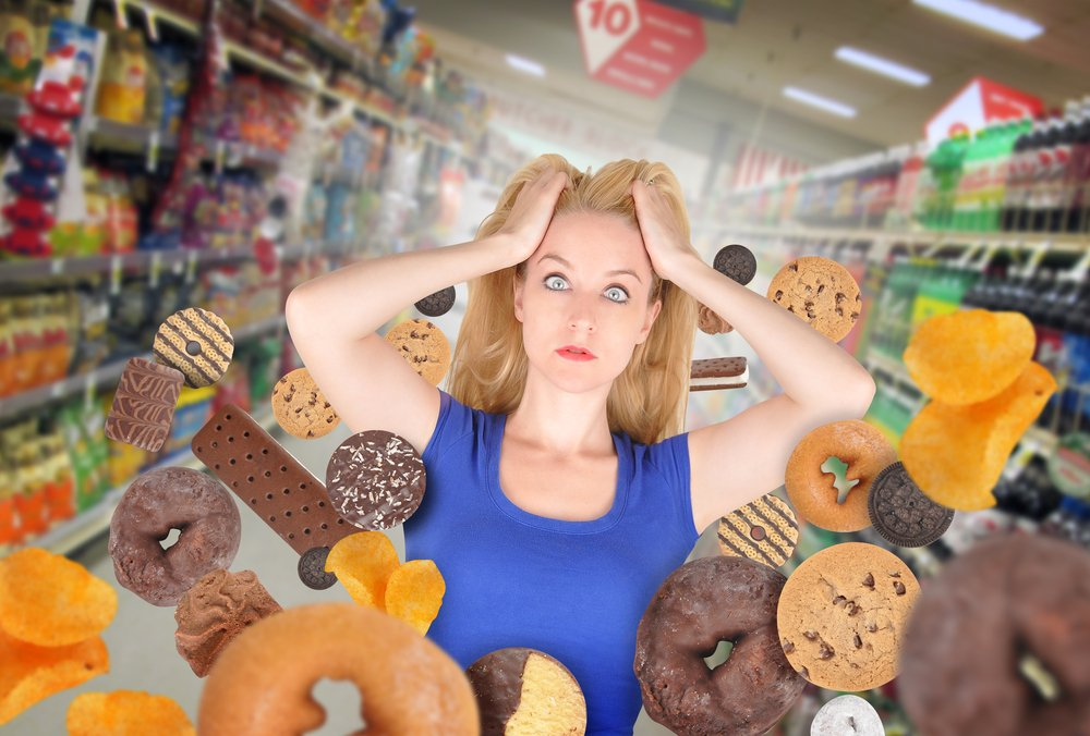 Woman Surrounded by diet choices